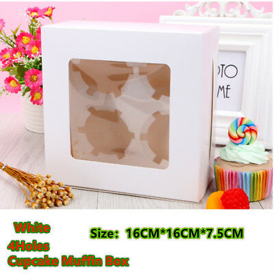 AU20.55 • Buy 25Pcs 4 Holes Cupcake Packing Box Cases Paper Baking Wedding Party Window Face