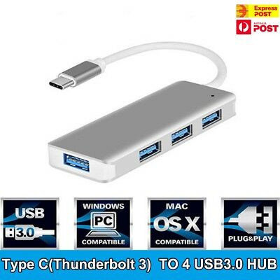 AU15.95 • Buy Type-C To 4 USB 3.0 HUB USB-C Charging Port Adapter USB 3.1 Cable