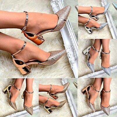£15.16 • Buy Ladies Diamante Pointed Block Heel Shoes Low Heel Ankle Strap Sandal Pointy Size