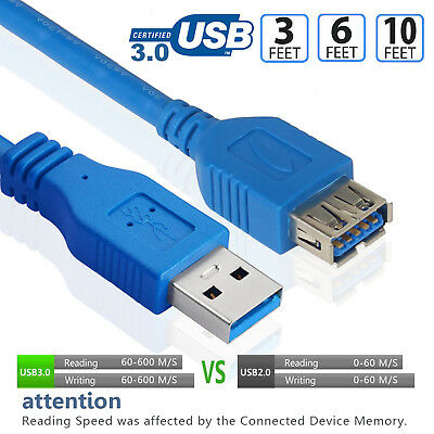 AU11.38 • Buy USB Extension Cable USB 3.0 Male To Female Data Sync Extender Cable Blue