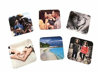 Personalised Photo Hardboard Coasters Your Image Custom Photo Text Logo Tea Mat • 4.99£