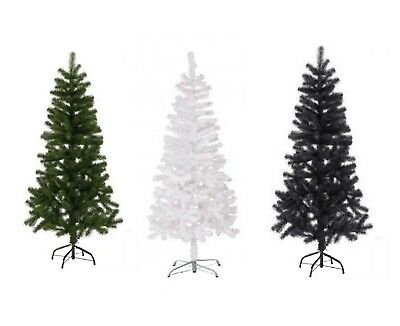 Artificial Christmas Tree Green,White & Black 2,3,4,5 6 & 7FT Xmas Decorations • 5.98£