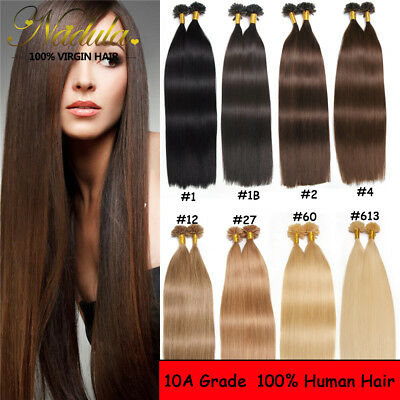 $58.32 • Buy New 10A 100s Keratin Pre Bonded Nail U Tip Glue 100% Remy Human Hair Extensions