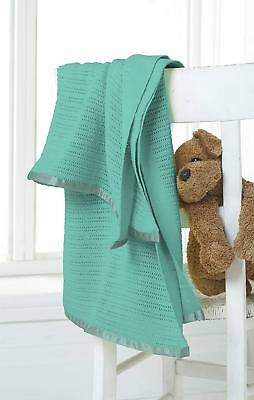 £11.99 • Buy Teal Baby Blanket Great Knot 100% Cotton Cellular Cot Bed Pram Knitted 75 X 100