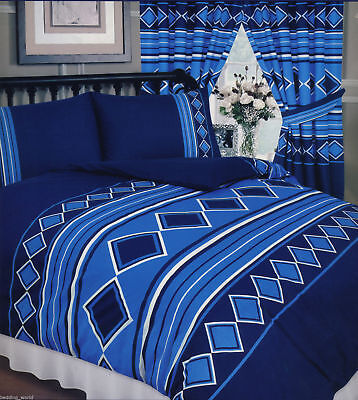 Double King Size Duvet Cover Set Men Only Nautical Blue Navy White Curtains • 16.99£