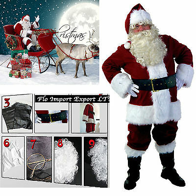 £125.07 • Buy Costume Outfit Santa Claus Deluxe Cosplay Christmas Suit SANTC03