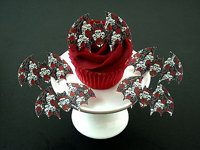 £2.34 • Buy 15 Pre-cut Bats Skull Roses Gothic Halloween Cake Edible Rice Wafer Paper Topper