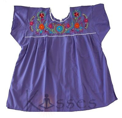 52ee45d91609dd Mexican Peasant Blouse Hand Embroidered Top Colors Vintage Style Tunic Lt  Purple • 18.88