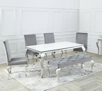 Louis Chrome SET White , Black Glass Dining Room Table & Velvet Chairs 1.6 / 2m. • 329£