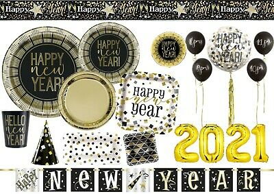 £3.45 • Buy Roaring Happy New Year Party Eve Tableware Balloons Decorations Black & Gold