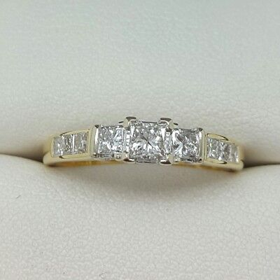 Princess Cut Diamond 3 Stone Ring In 18ct Yellow Gold Finger Size K 1/2 0.50ct • 550£