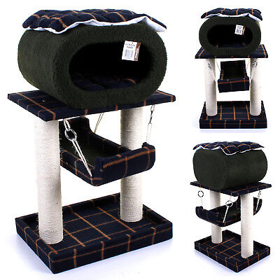 Cat Tree Scratcher Scratching Post Pet Bed Activity Centre Play Toy Sisal Rope • 29.99£
