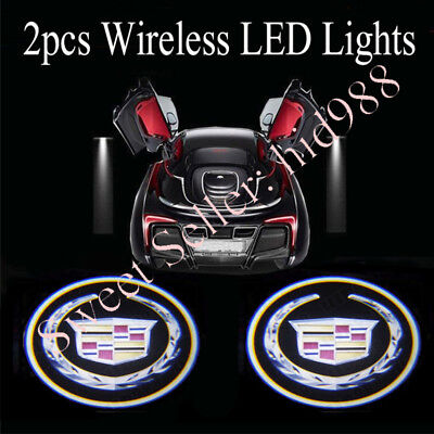 2 For Cadillac Wireless Led Car Door Logo Shadow Welcome Light Projector Us 10 90