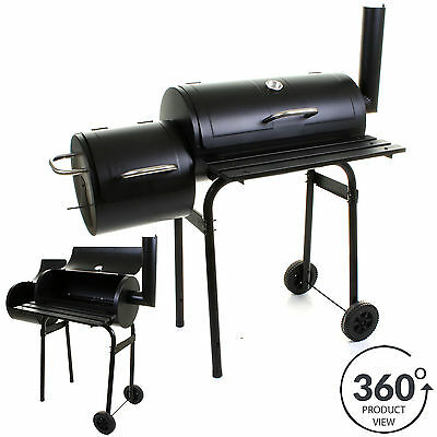 Large Charcoal Bbq Barbecue Smoker Barrel Grill Food Cooking Garden Outdoor • 99.99£