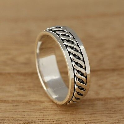 925 Sterling Silver Celtic Twist Spinning Thumb Band Ring 7mm Wide Mens/Womens • 19.98£
