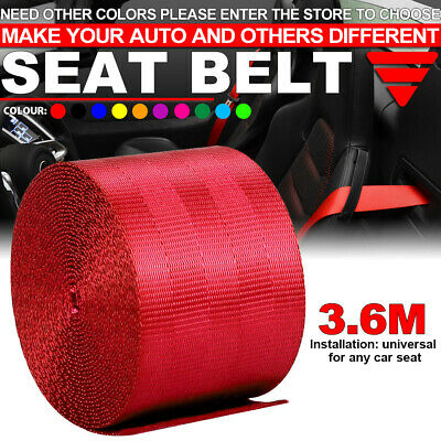 $12.37 • Buy Red Car 3.6M Seat Belt Webbing Polyester Seat Lap Retractable Nylon Safety Strap