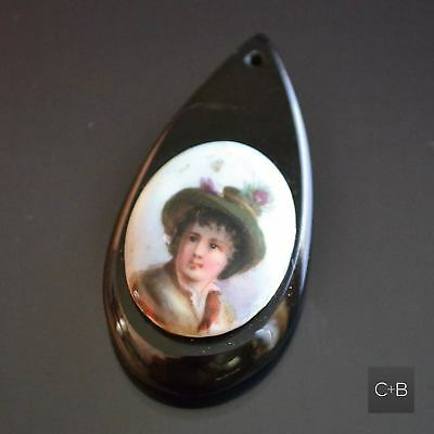*Vintage Whitby Jet PENDANT With Hand Painted Boy On Porcelain • 81.47£