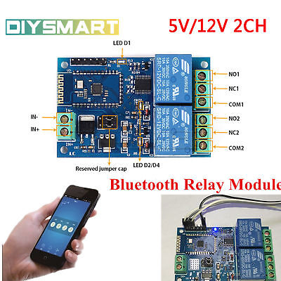 AU10.31 • Buy 5V/12V 2CH Bluetooth Relay Module Smart Home Mobile APP Remote Control Switch AU