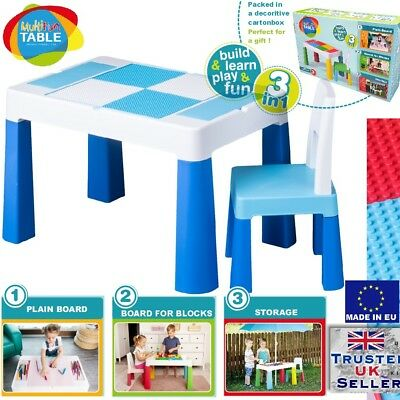5in1 Multifun Table & Chair Set For Children Kids Activity Play, Lego Water BLUE • 69.99£