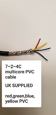 7-2-4C 4 Four Core Multicore Screened Cable, 0.22 Mm², 7 X 0.2mm Def-Stan 61-12 • 9.51£