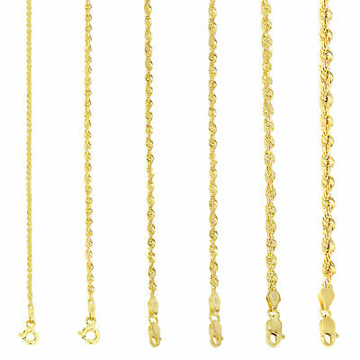$223.71 • Buy 10K Yellow Gold Light 1.5mm-4mm Diamond Cut Rope Chain Pendant Necklace 14 - 30