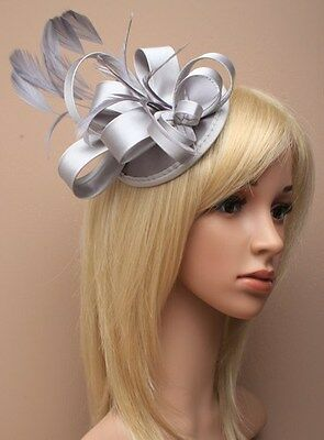 Large Silver Satin Hat Fascinator Clip Feather Ladies Day Races Wedding Ascot 17 • 7.99£