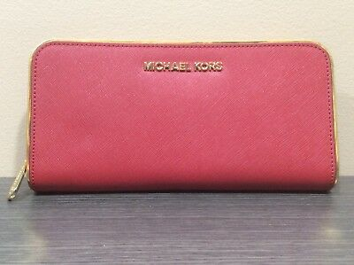 ad122f90db57 Michael Kors Jet Set Continental Zip Around Saffiano Leather Wallet Red  Gold • 79.99