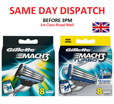 New Gillette Mach3  / Turbo 8 OR 16 Razor Blades Same Day Dispatch • 10.50£