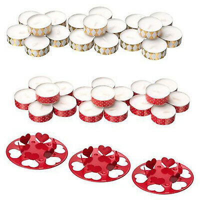 Christmas Unscented Tea Light  Candles Holder Gold Red Burning Time 4 Hrs IKEA • 4.99£