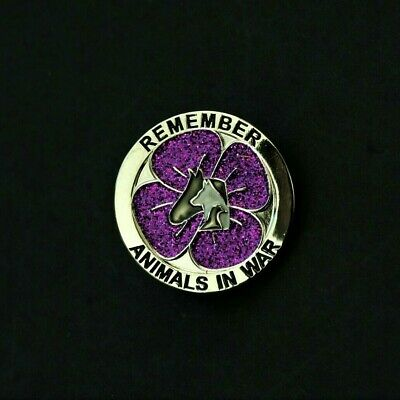 Purple Poppy Glitter  - Animals In War - Remembrance Badge - Silver        (p12) • 3.39£