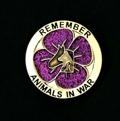Purple Poppy Glitter  - Animals In War - Remembrance Badge - Gold          (p14) • 3.39£