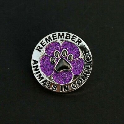 Purple Poppy Glitter  - Animals In Conflict - Remembrance Badge - Silver   (p28) • 3.39£