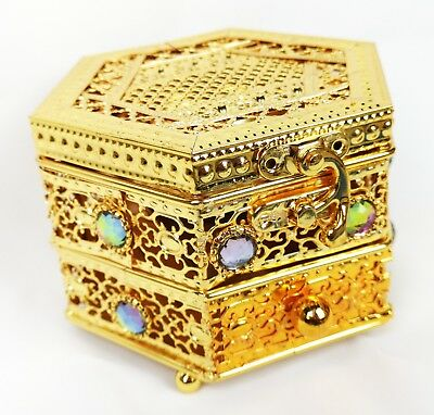 Decorative Arabian Metal Trinket Incense Box Bakhoor Burner With Drawer (Gold) • 14.95£