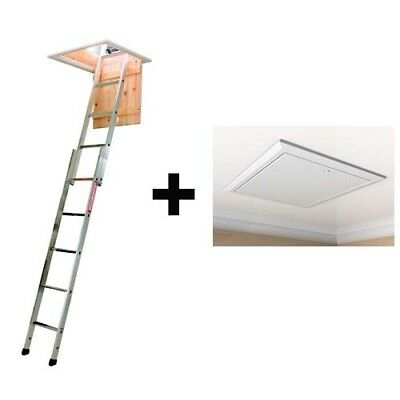 Timloc 1169 Loft Hatch / Door AND Youngmans 2 Section Loft Ladder Spacemaker • 80.90£
