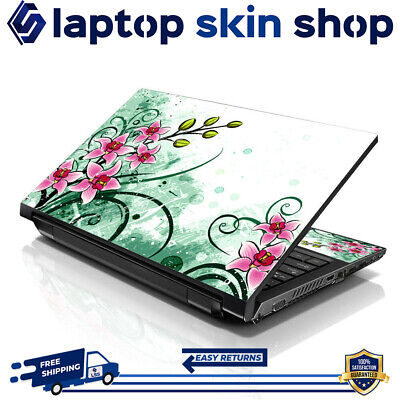 £7.93 • Buy Laptop Skin Sticker Decal Protection Vinyl Film Wrap Pink Flowers 13-16.5 Inch