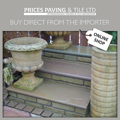 £168 • Buy Indian Sandstone Bullnosed Step Or Wall Coping 1000x350x30mm RAJ GREEN
