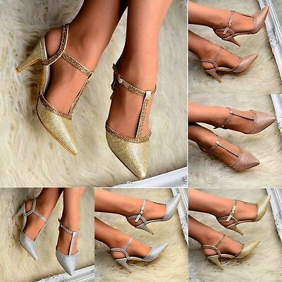 £15.96 • Buy Ladies Diamante Pointed Mid Heel Shoes Ankle Strap T Bar Sandals Pointy Heels