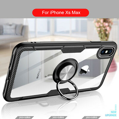 AU11.99 • Buy For IPhone XS Max XR Case Transparent Carbon Fibre Armor Metal Ring Cover 11 Pro