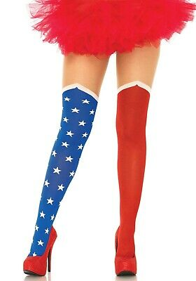 Hero Opaque Tights W/Sheer Thigh, Super Hero Stockings, Comic Book, Wonder Woman • 14.99£