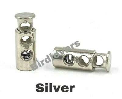 Quality Silver Barrel Toggle Spring Stop Double Hole Cord Locks Stopper Ends   • 1.99£
