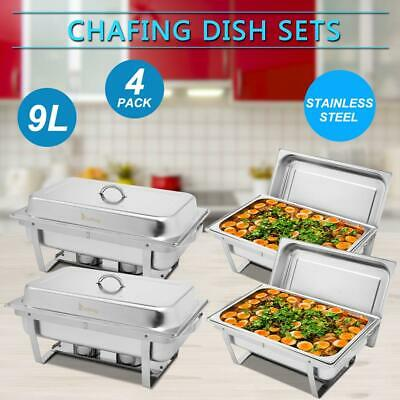 £61.95 • Buy Pack Of 4 Stainless Steel Chafing Dish Sets With 4 Fuel Spoons Food Warmers