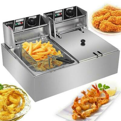 £80.99 • Buy 12L Electric Deep Fryer Commercial Dual Tank Stainless Steel Non-Stick Pan 5000W