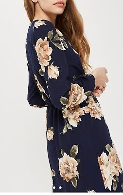 TOPSHOP CONCESSION LOVE KHAKI FLORAL WRAP DRESS SIZE S/m BRAND NEW WITH TAGS • 16.50£