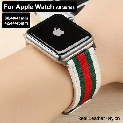AU15.15 • Buy Genuine Leather + Nylon Band Strap Watch Band For Apple Watch 6 5 4 3 2 Rainbow