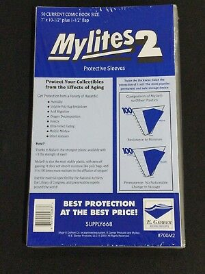 $17.99 • Buy 50 - E. GERBER MYLITES 2 CURRENT / MODERN 2-Mil Mylar Comic Bags Sleeves 700M2