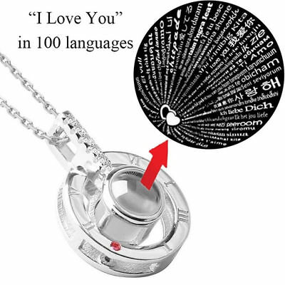 $4.99 • Buy Silver 100 Languages Light I Love You Projection Pendant Necklace Tik Tok Style
