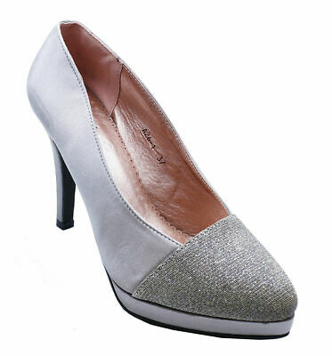 Womens Pewter Satin Slip-on Court Evening Party Prom Wedding Shoes Size 2-7 • 9.99£
