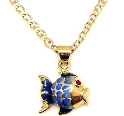 14K Yellow Gold Fish Pendant Charm Necklace Fishing Goldfish Sailor Tail 3D Gift • 134.99$