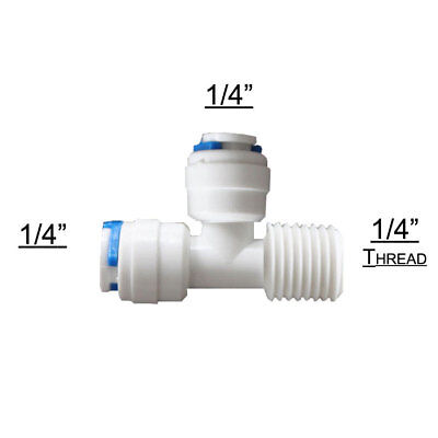 Reverse Osmosis T Connector Pushfit 1/4  Pipe X Inline Post Carbon Water Filter • 1.99£