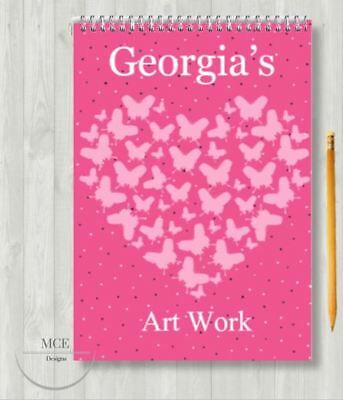 Pink Butterflies Personalised A4 Sketch Pad/ Art Book/ Drawing Book • 6.95£